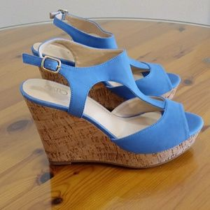CATO blue suede wedge size 8M